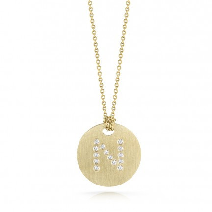 Roberto Coin Tiny Treasures 18kt Yellow Gold Diamond Initial N Medallion Necklace