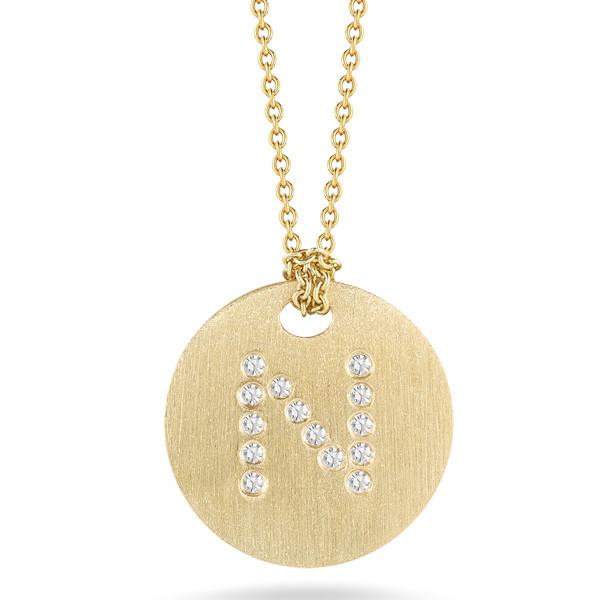 Diamond Initial N Medallion Necklace