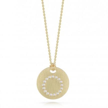 Roberto Coin Tiny Treasures 18kt Yellow Gold Diamond Initial O Medallion Necklace