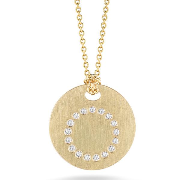 Diamond Initial O Medallion Necklace