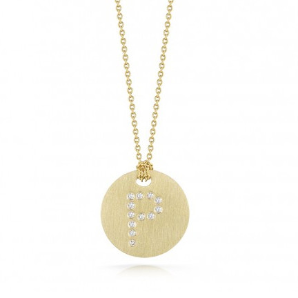 Roberto Coin Tiny Treasures 18kt Yellow Gold Diamond Initial P Medallion Necklace