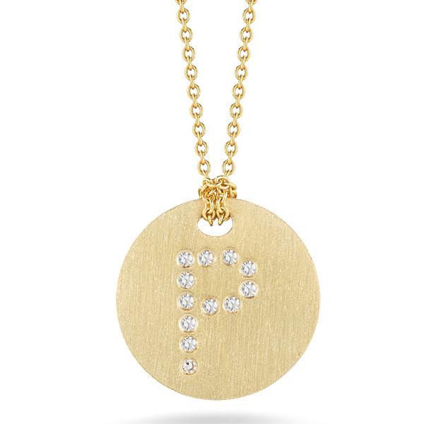 Diamond Initial P Medallion Necklace