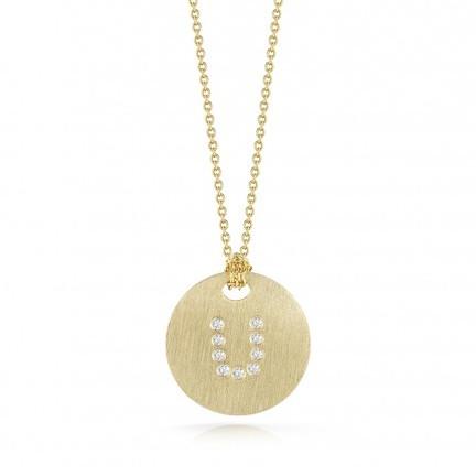 Roberto Coin Tiny Treasures 18kt Yellow Gold Diamond Initial U Medallion Necklace