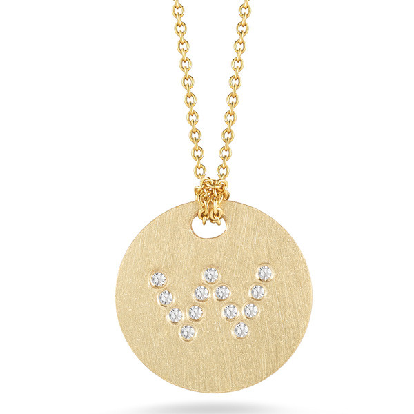 Roberto Coin Tiny Treasures Yellow Gold Diamond Initial W Medallion Necklace