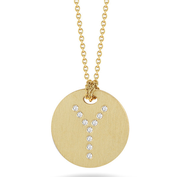 Roberto Coin Tiny Treasures Yellow Gold Diamond Initial Y Medallion Necklace