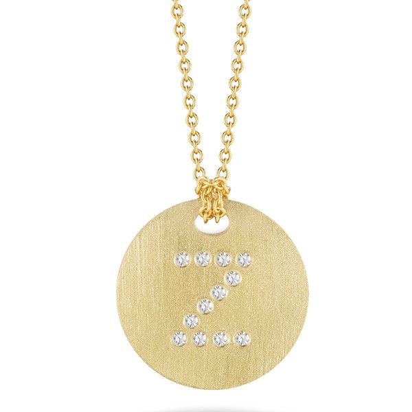 Roberto Coin Tiny Treasures Yellow Gold Diamond Initial Z Medallion Necklace