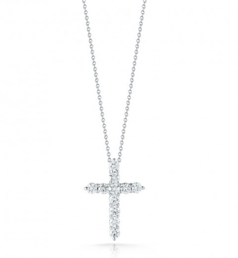 Roberto Coin Tiny Treasures 18K White Gold Small Diamond Cross Necklace .88Tcw
