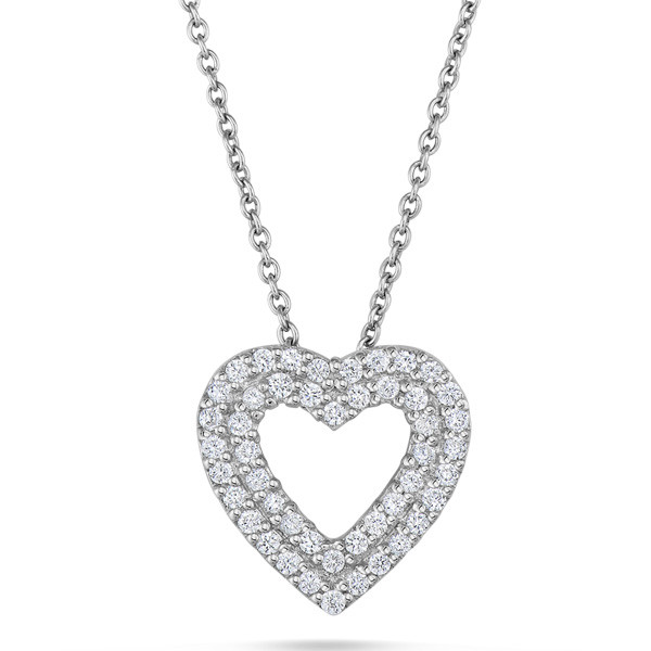 Double Open Heart Diamond Pendant