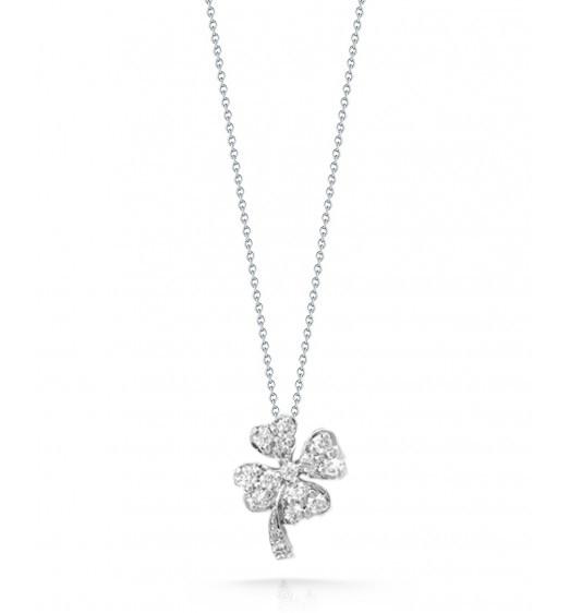 Roberto Coin Tiny Treasures Diamond Clover Necklace
