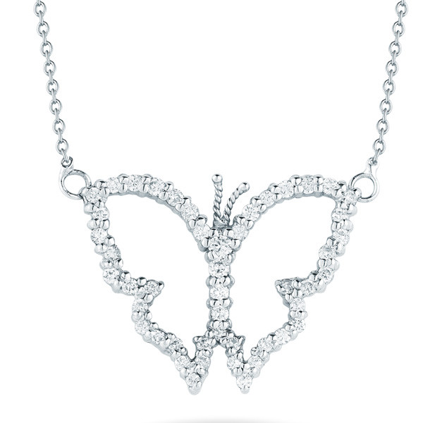 Open Butterfly With Diamonds Necklace