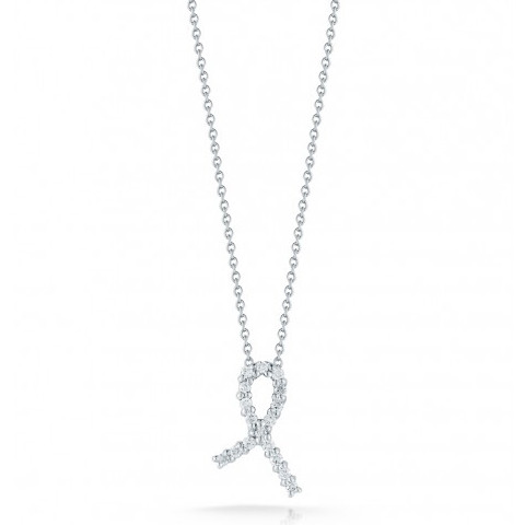 Roberto Coin Cancer Awareness Diamond Ribbon 18kt White Gold Necklace .07ctw