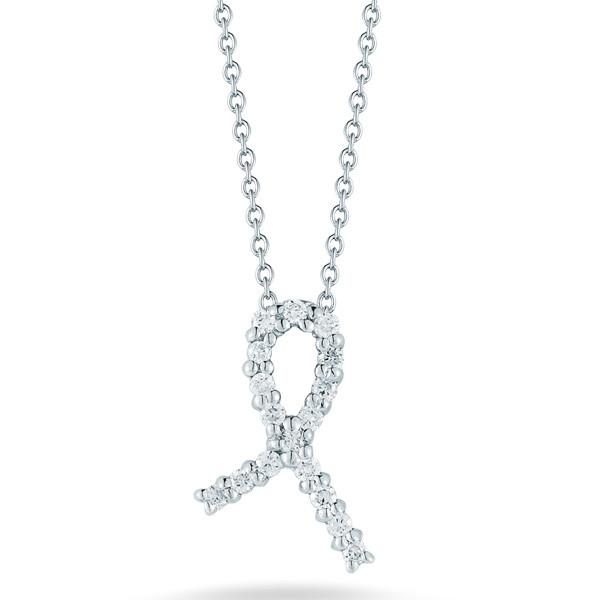 Cancer Awareness Diamond Ribbon Necklace