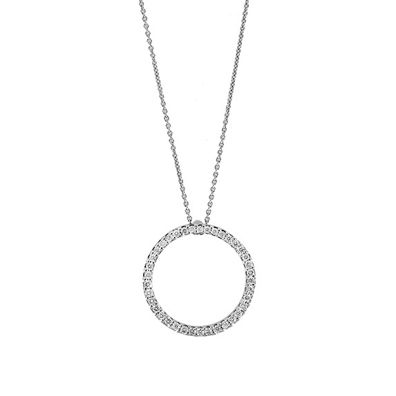 Roberto Coin Tiny Treasure Diamond Circle Necklace .51ctw 23mm
