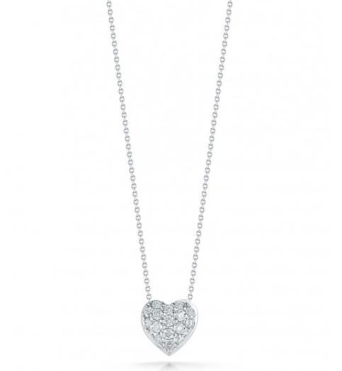 Roberto Coin Tiny Treasures Diamond Heart Puffed Necklace .15ctw