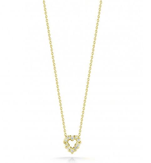 Roberto Coin Tiny Treasures Open Heart 18kt Yellow Gold & Diamond Necklace .11ctw