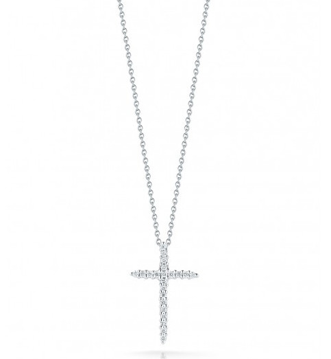 Roberto Coin Tiny Treasures Necklace 18kt White Gold Diamond Cross Necklace .10ctw