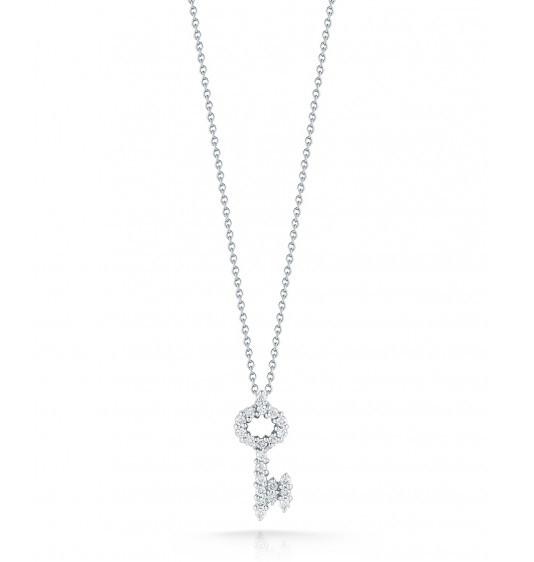 Roberto Coin Tiny Treasures Diamond Key Necklace .26ctw