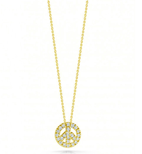Roberto Coin Tiny Treasures Peace Sign 18kt Yellow Gold & Diamond Necklace