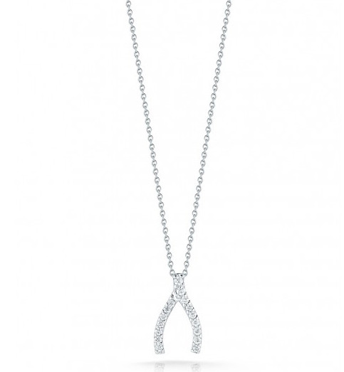 Roberto Coin Tiny Treasures Wishbone Diamond Necklace 0.12tw