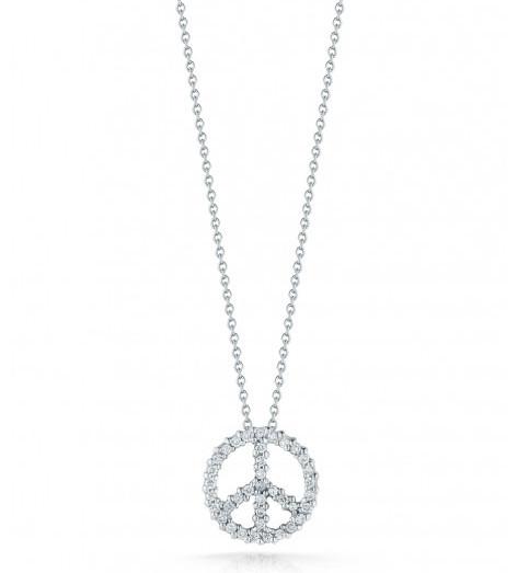 Roberto Coin Tiny Treasures Peace Sign Diamond Necklace .18ctw