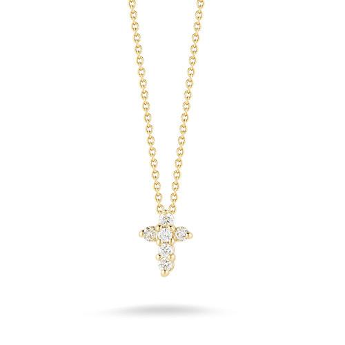 Baby Cross Yellow Gold & Diamond Necklace