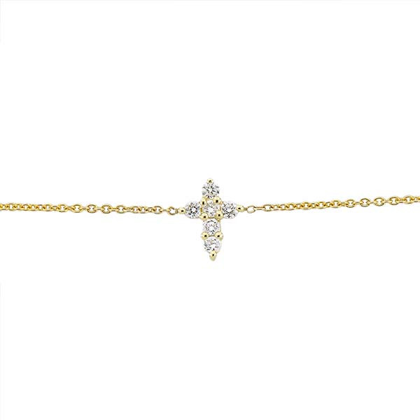 Roberto Coin Tiny Treasure Yellow Gold Diamond Baby Cross Bracelet