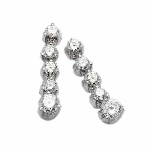 Roberto Coin Cento 18kt White Gold & Diamond Drop Earrings
