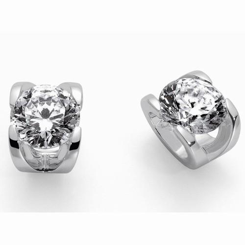 Roberto Coin Cento C Profile Diamond & 18kt White Gold Stud Earrings