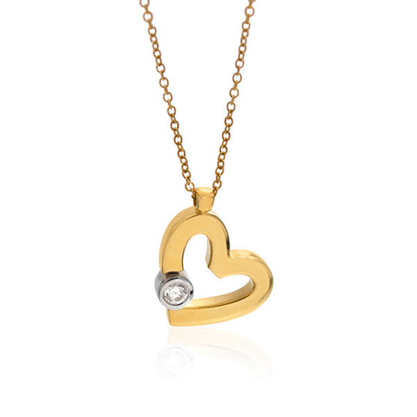 Roberto Coin Cento Diamond Yellow Gold Heart Pendant Necklace