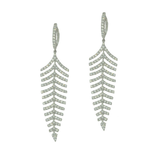 Roberto Coin Diamond Fish Bone Earrings
