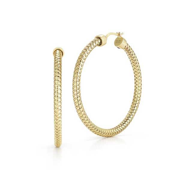 Roberto Coin Primavera Yellow Gold Mesh Hoop Earrings