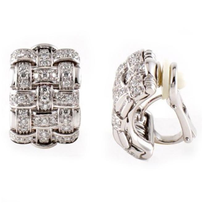 Roberto Coin Appassionata 18K White Gold Diamond Earrings