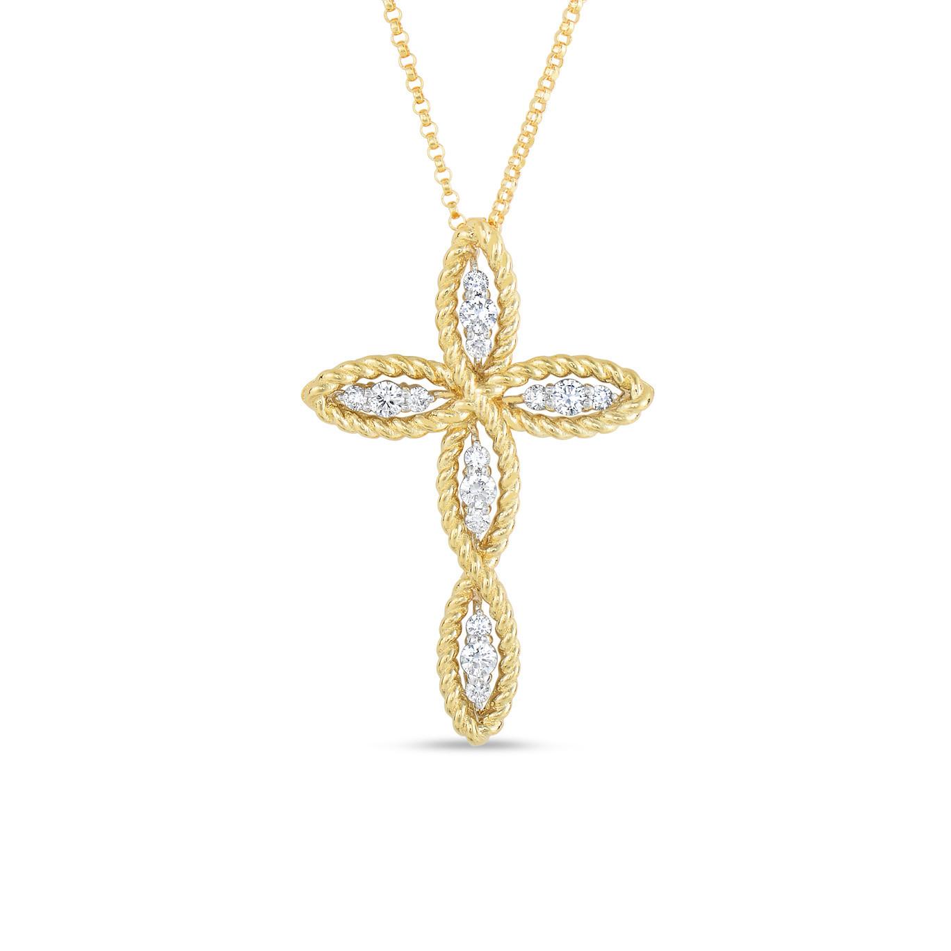 Roberto Coin New Barocco Diamond Cross Necklace