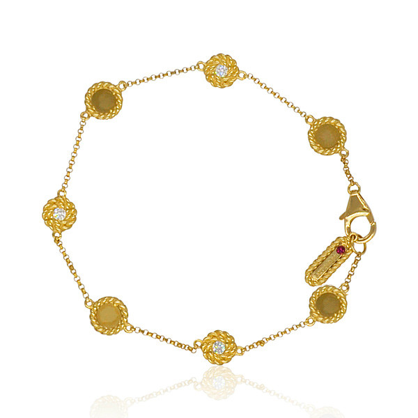 Roberto Coin New Barocco Yellow Gold Station Braided Bracelet