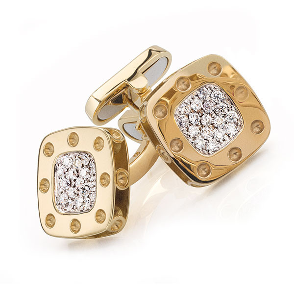 Roberto Coin Pois Moi 18kt Yellow Gold Diamond Cufflinks