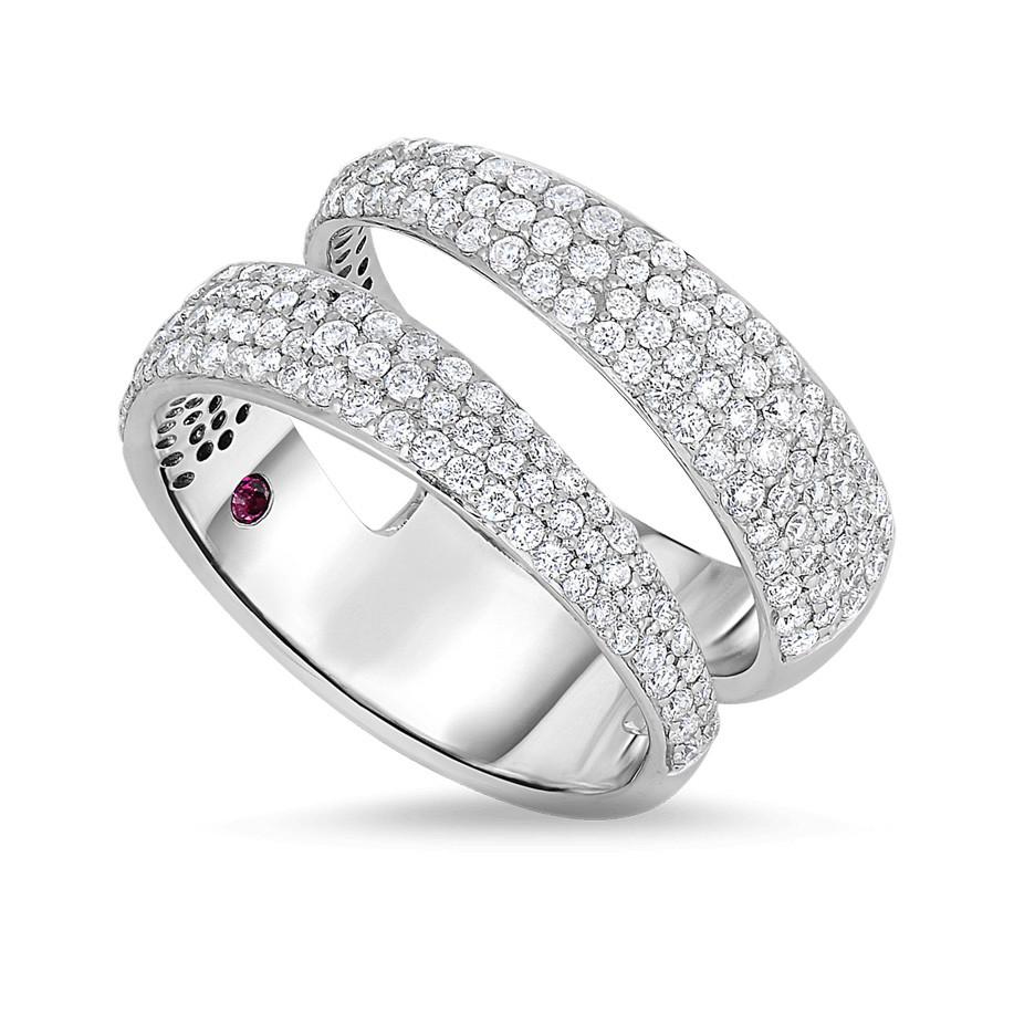 Roberto Coin Scarlare 18kt White Gold Diamond Scarlare Double Row Ring