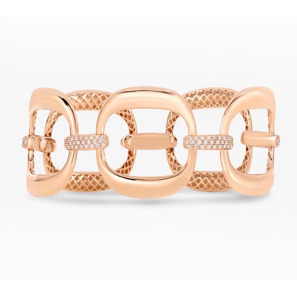 Roberto Coin Rose Gold Diamond 5 Link Bracelet