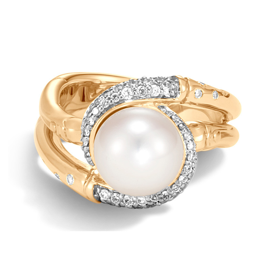 John Hardy Bamboo Pearl & Yellow Gold Diamond Ring Top View