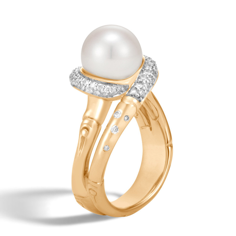 John Hardy Bamboo Pearl & Yellow Gold Diamond Ring