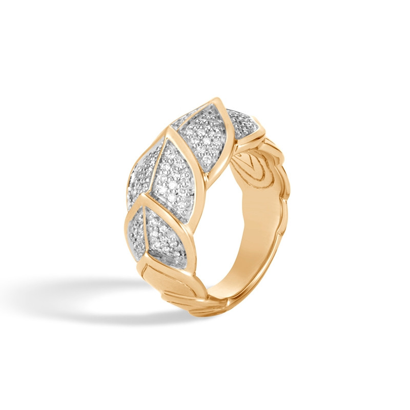 John Hardy Legends Naga Diamond Ring in Yellow Gold angle view