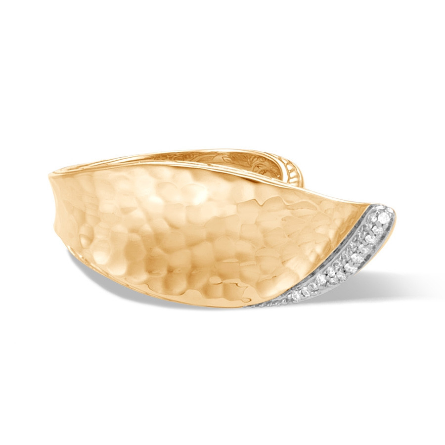 John Hardy Classic Chain Wave Hammered Yellow Gold Diamond Ring Front View