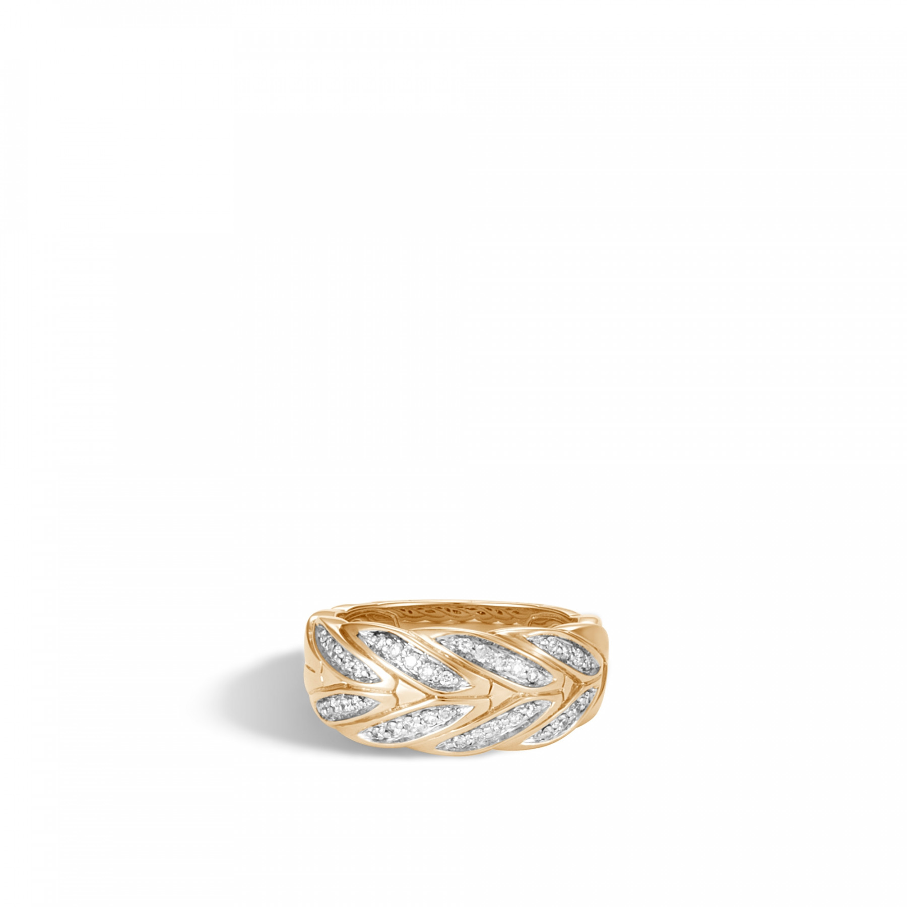 John Hardy Modern Chain Diamond Ring front view
