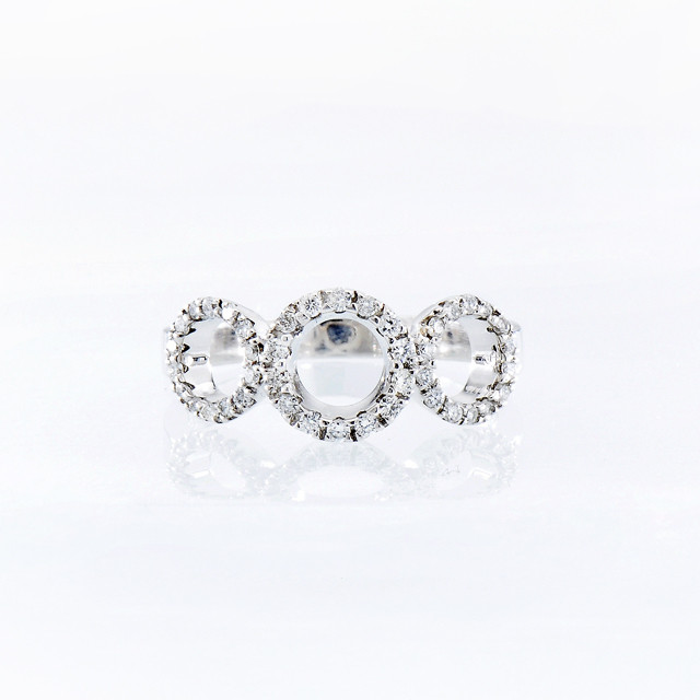 Roberto Coin Tiny Treasures 18kt White Gold Diamond Three Circle Ring