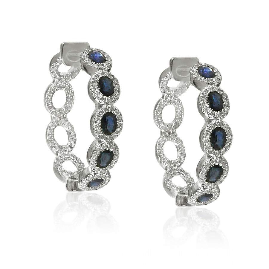 White Gold Blue Sapphire & Pave Diamond Hoop Earrings