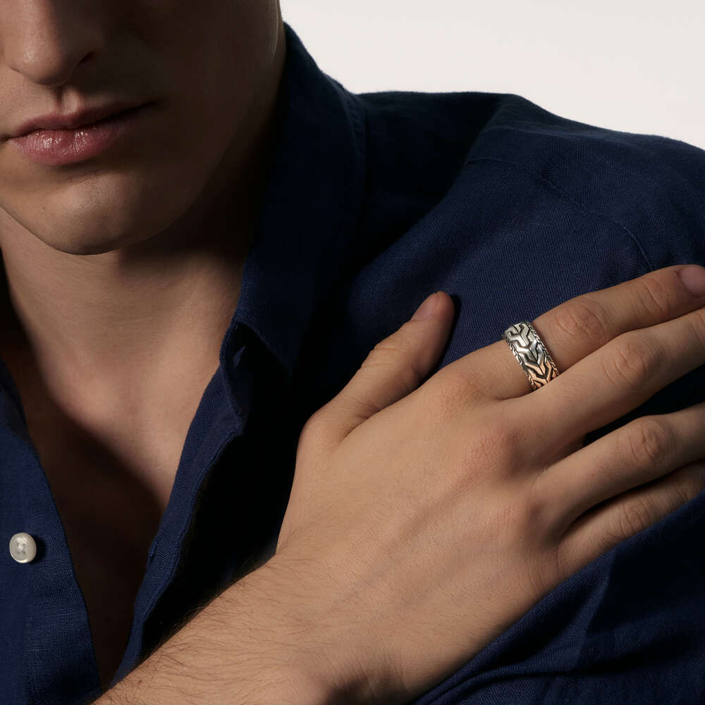 John Hardy Asli Classic Chain Ring in Sterling Silver on model