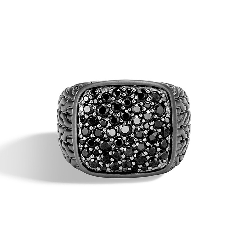 John Hardy Classic Chain Black Sapphire Signet Ring front view