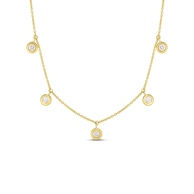 Roberto Coin Five Diamond Necklace in 18K Gold