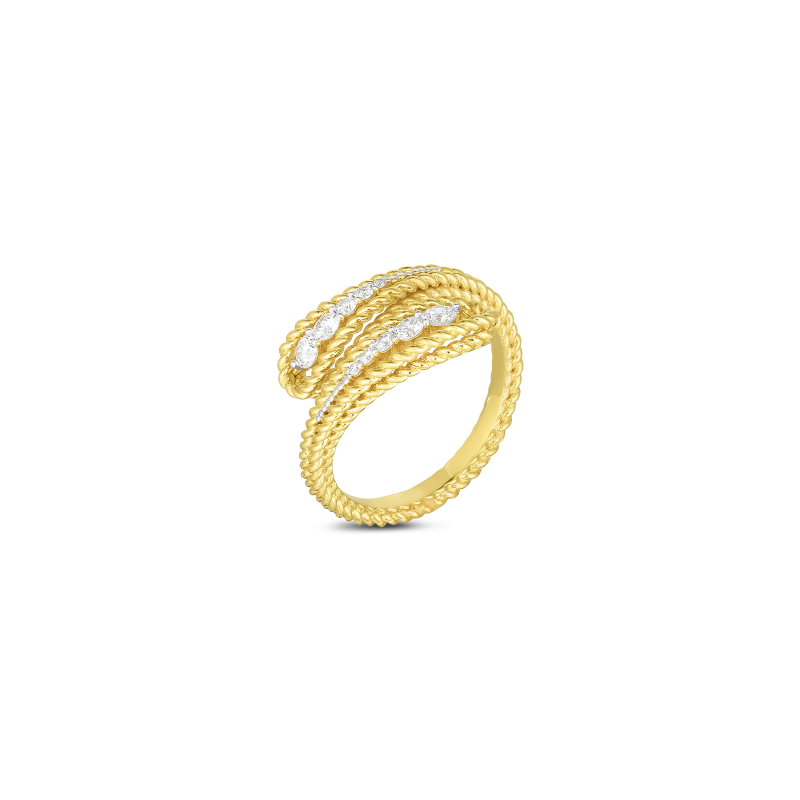 Roberto Coin Byzantine Barocco Diamond Bypass Ring in 18K Gold standing view