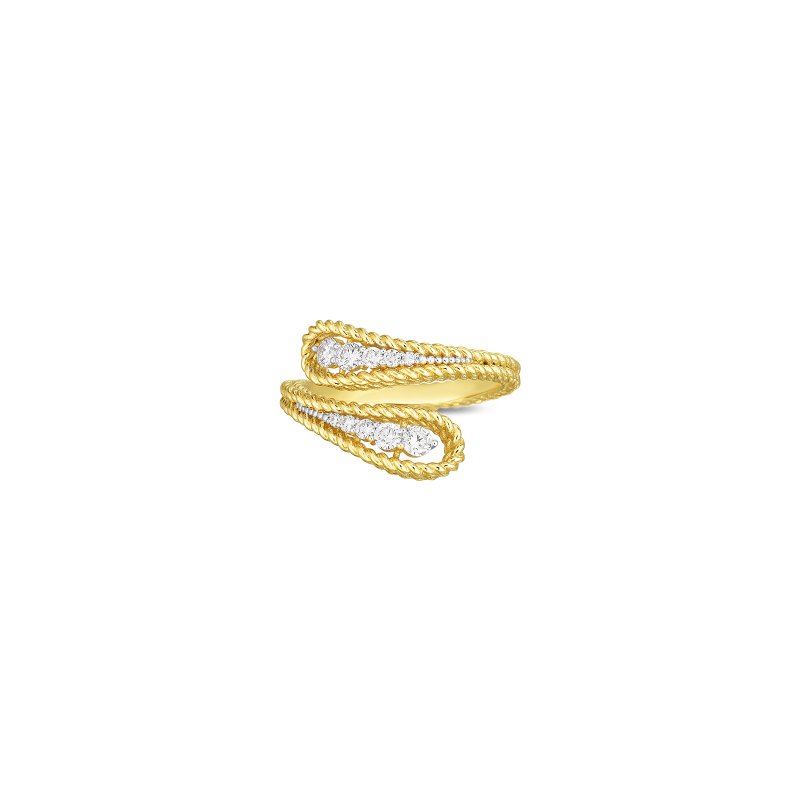 Roberto Coin Byzantine Barocco Diamond Bypass Ring in 18K Gold top view