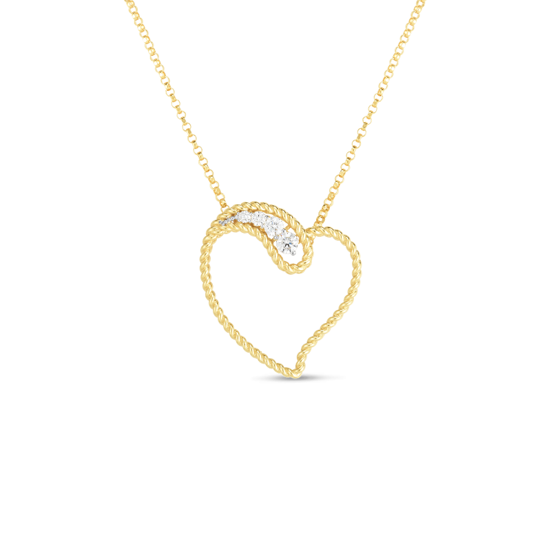 Roberto Coin Byzantine Barocco 18K Gold Open Heart Necklace front view